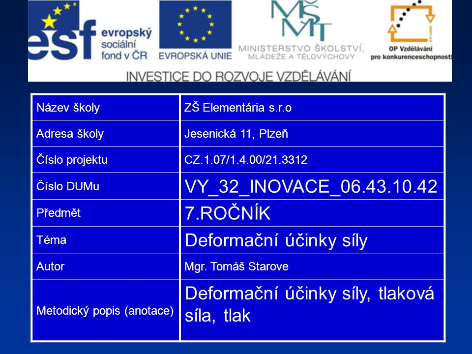 Název školyZŠ Elementária s.r.o Adresa školyJesenická 11, Plzeň Číslo projektuCZ.1.07/1.4.00/21.3312 Číslo DUMu VY_32_INOVACE_06.43.10.42 Předmět 7.ROČNÍK Téma Deformační účinky síly AutorMgr.