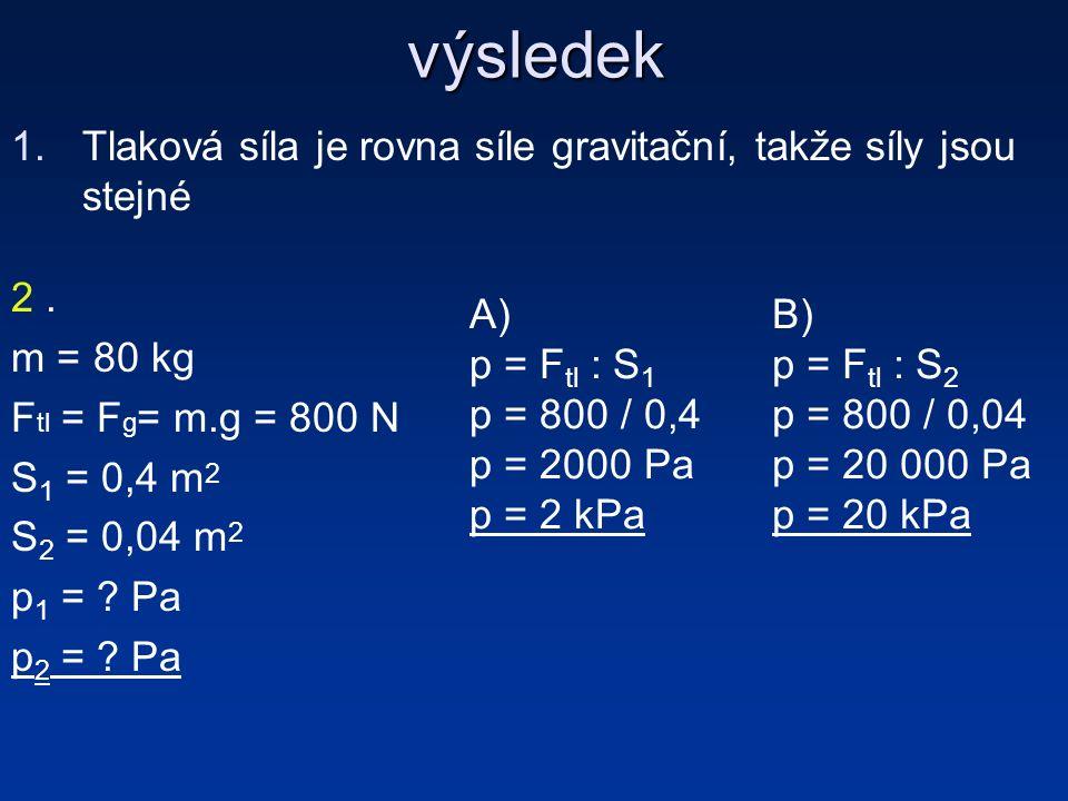 výsledek 1.Tlaková síla je rovna síle gravitační, takže síly jsou stejné 2.