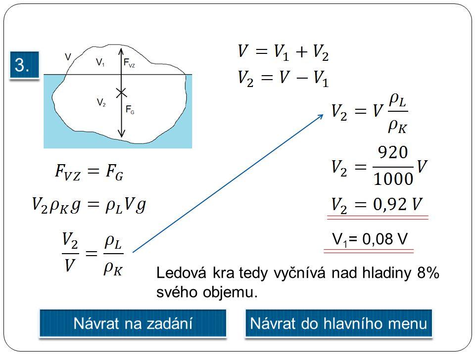 V 1 = 0,08 V Ledová kra tedy vyčnívá nad hladiny 8% svého objemu.