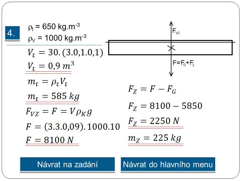  t = 650 kg.m -3  V = 1000 kg.m -3