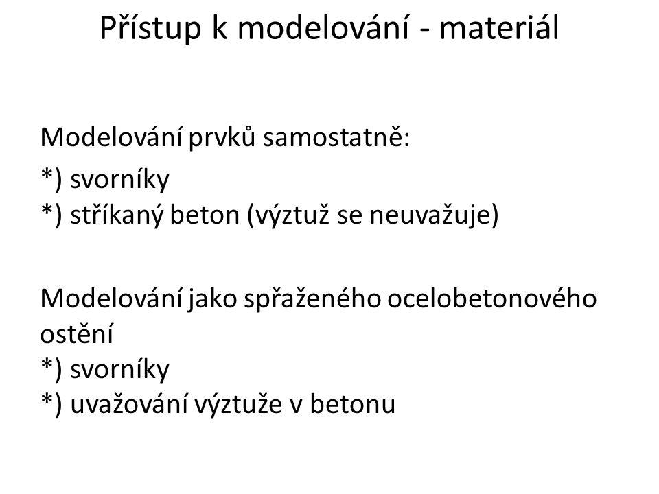 Přístup k modelování - materiál Modelování prvků samostatně: *) svorníky *) stříkaný beton (výztuž se neuvažuje) Modelování jako spřaženého ocelobetonového ostění *) svorníky *) uvažování výztuže v betonu