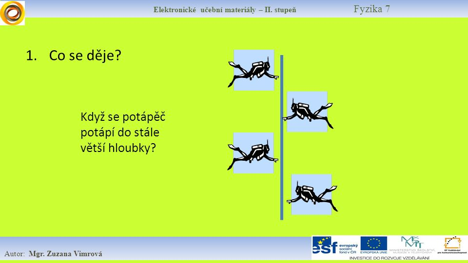 Elektronické učební materiály – II. stupeň Fyzika 7 Autor: Mgr. Zuzana Vimrová 1.Co se děje? Když se potápěč potápí do stále větší hloubky?