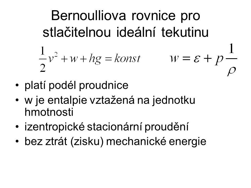 Bernoulliova rovnice pro stlačitelnou ideální tekutinu platí podél proudnice w je entalpie vztažená na jednotku hmotnosti izentropické stacionární proudění bez ztrát (zisku) mechanické energie