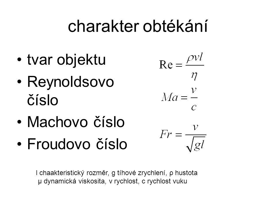 charakter obtékání tvar objektu Reynoldsovo číslo Machovo číslo Froudovo číslo l chaakteristický rozměr, g tíhové zrychlení, ρ hustota μ dynamická viskosita, v rychlost, c rychlost vuku