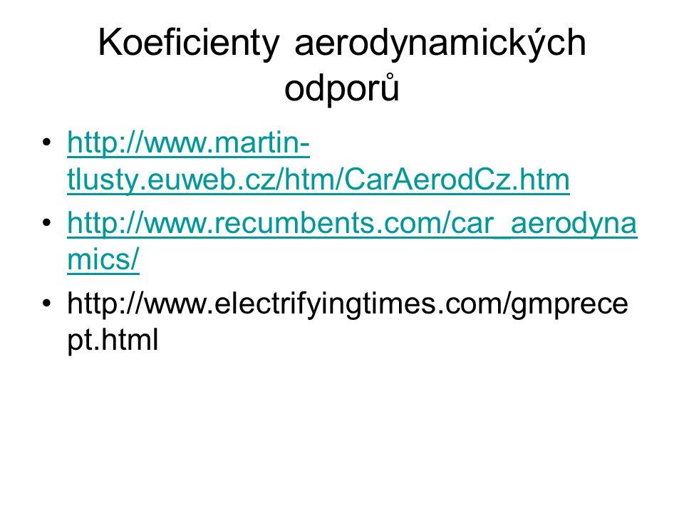 Koeficienty aerodynamických odporů http://www.martin- tlusty.euweb.cz/htm/CarAerodCz.htmhttp://www.martin- tlusty.euweb.cz/htm/CarAerodCz.htm http://www.recumbents.com/car_aerodyna mics/http://www.recumbents.com/car_aerodyna mics/ http://www.electrifyingtimes.com/gmprece pt.html