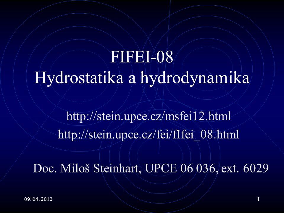 09.04. 20122 Hlavní body Úvod do hydrostatiky ideálních kapalin Archimédův zákon.