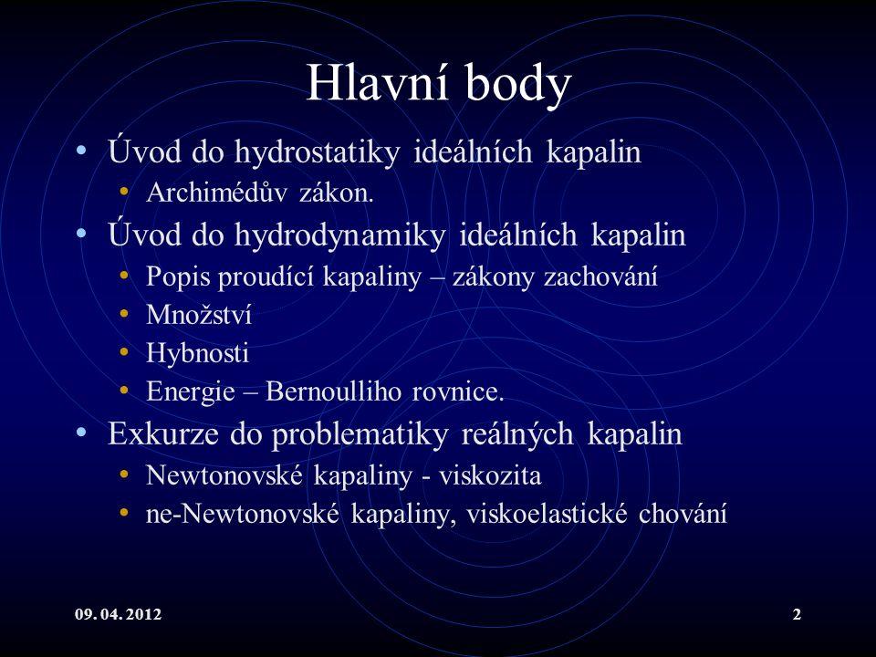 09. 04. 20122 Hlavní body Úvod do hydrostatiky ideálních kapalin Archimédův zákon.