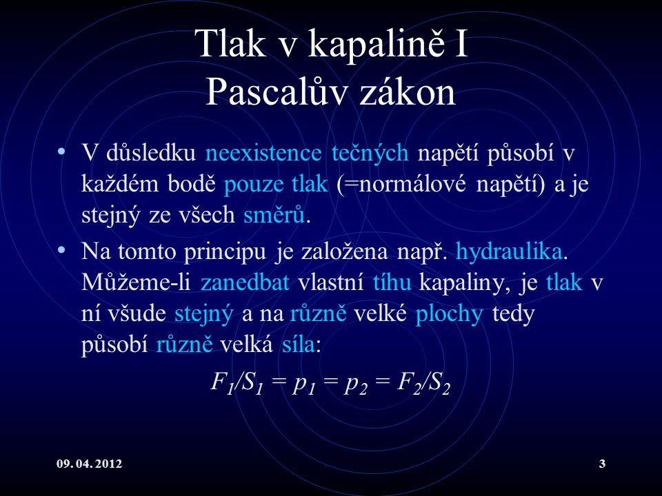 09.04. 20124 Tlak v kapalině II Předpokládejme gravitační pole v blízkosti povrchu Země.