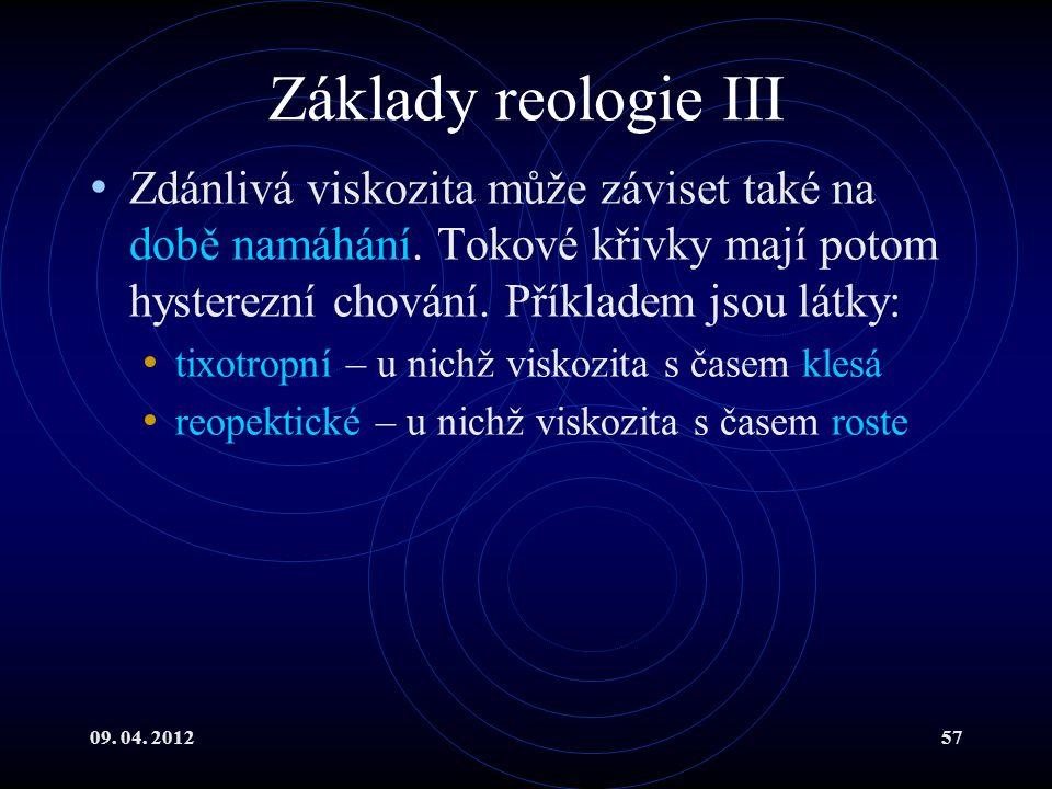 09. 04. 201257 Základy reologie III Zdánlivá viskozita může záviset také na době namáhání.