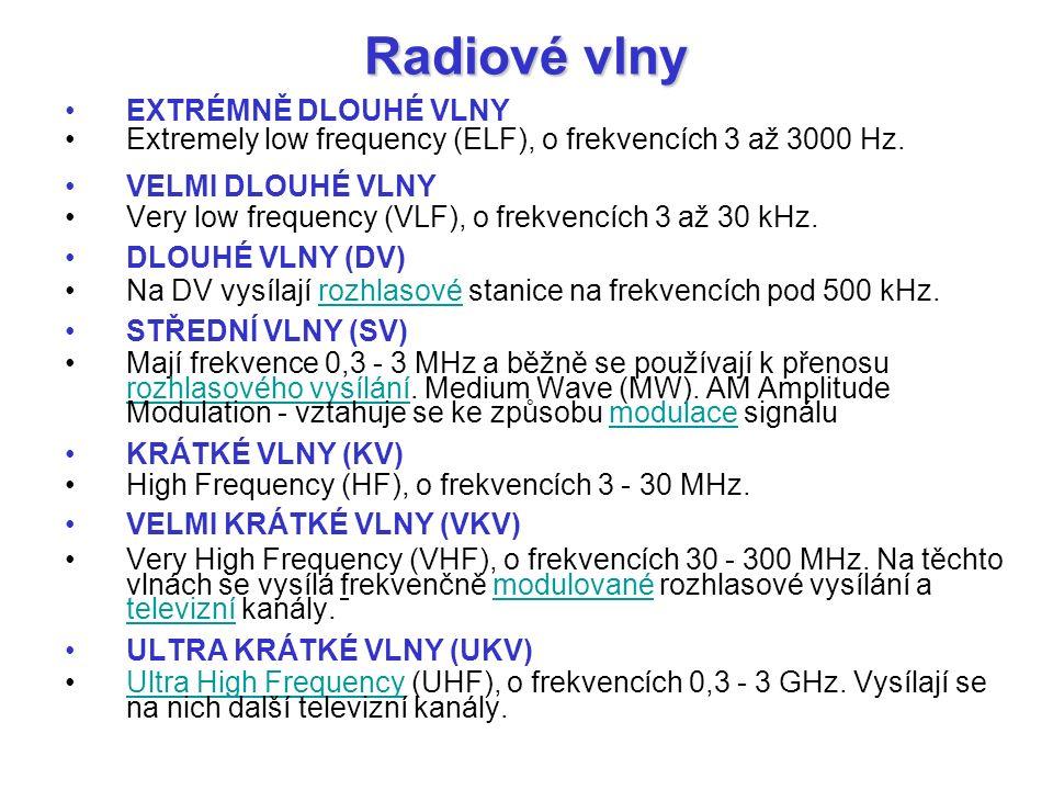 Radiové vlny EXTRÉMNĚ DLOUHÉ VLNY Extremely low frequency (ELF), o frekvencích 3 až 3000 Hz. VELMI DLOUHÉ VLNY Very low frequency (VLF), o frekvencích