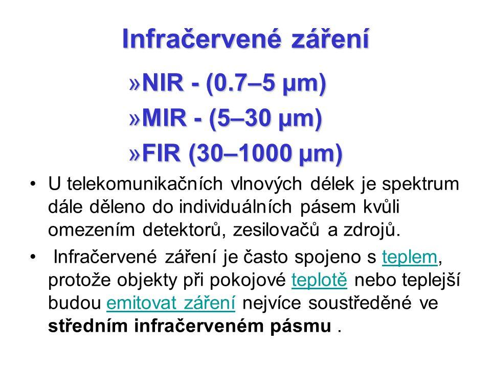 Infračervené záření »NIR - (0.7–5 µm) »MIR - (5–30 µm) »FIR (30–1000 µm) U telekomunikačních vlnových délek je spektrum dále děleno do individuálních pásem kvůli omezením detektorů, zesilovačů a zdrojů.