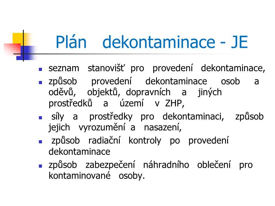 Plán dekontaminace - JE seznam stanovišť pro provedení dekontaminace, způsob provedení dekontaminace osob a oděvů, objektů, dopravních a jiných prostředků a území v ZHP, síly a prostředky pro dekontaminaci, způsob jejich vyrozumění a nasazení, způsob radiační kontroly po provedení dekontaminace způsob zabezpečení náhradního oblečení pro kontaminované osoby.