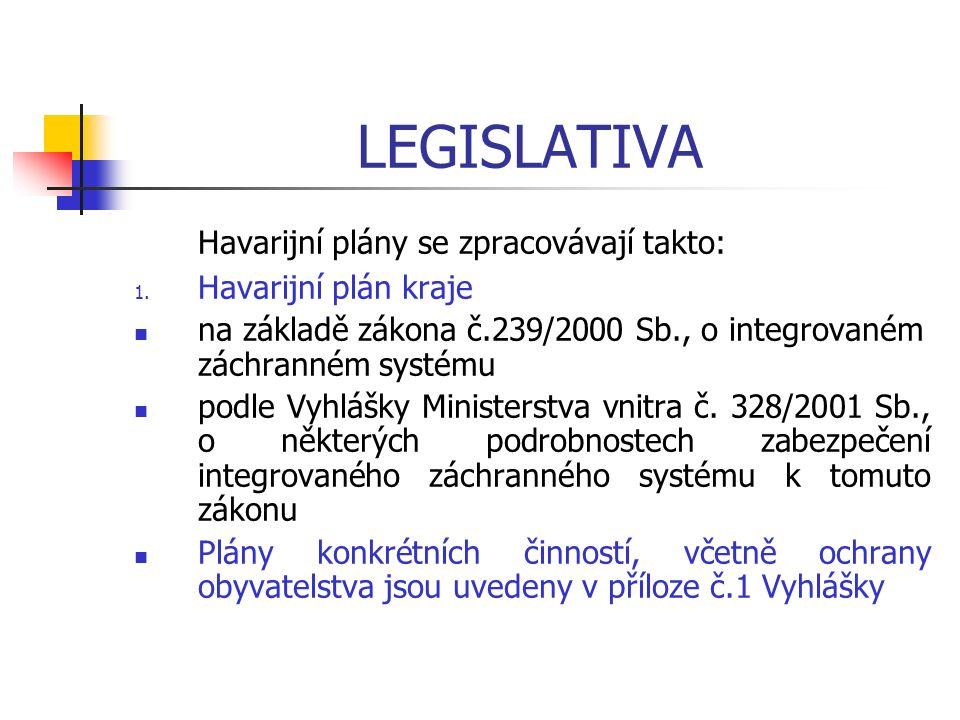 LEGISLATIVA Havarijní plány se zpracovávají takto: 1. Havarijní plán kraje na základě zákona č.239/2000 Sb., o integrovaném záchranném systému podle V
