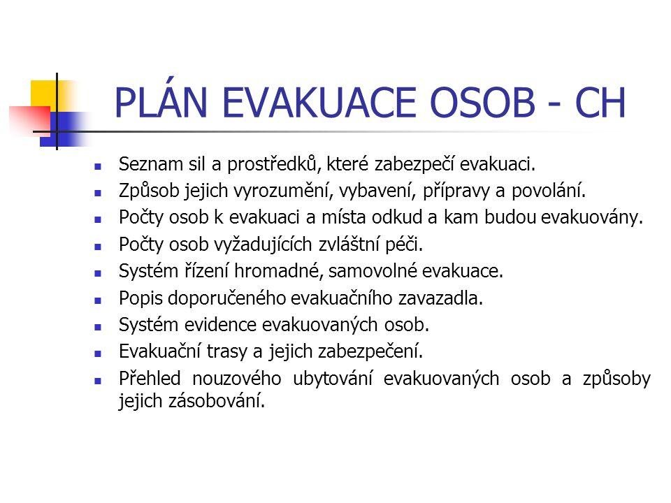 PLÁN EVAKUACE OSOB - CH Seznam sil a prostředků, které zabezpečí evakuaci. Způsob jejich vyrozumění, vybavení, přípravy a povolání. Počty osob k evaku