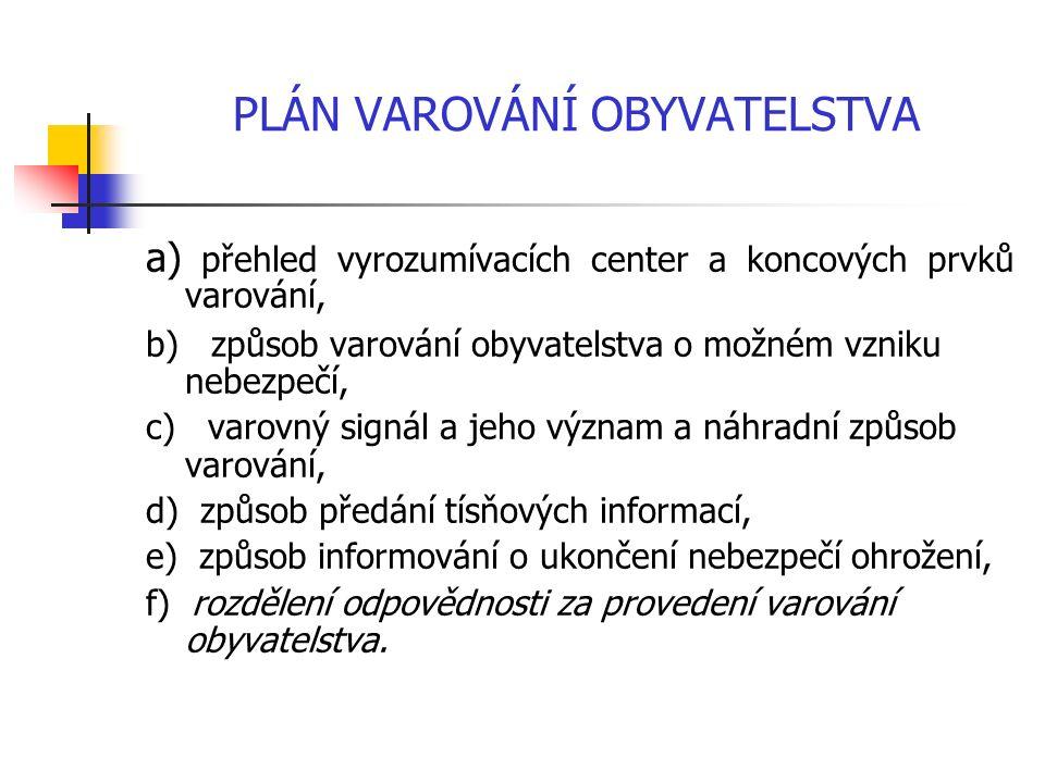 PLÁN VAROVÁNÍ OBYVATELSTVA a) přehled vyrozumívacích center a koncových prvků varování, b) způsob varování obyvatelstva o možném vzniku nebezpečí, c) varovný signál a jeho význam a náhradní způsob varování, d) způsob předání tísňových informací, e) způsob informování o ukončení nebezpečí ohrožení, f) rozdělení odpovědnosti za provedení varování obyvatelstva.