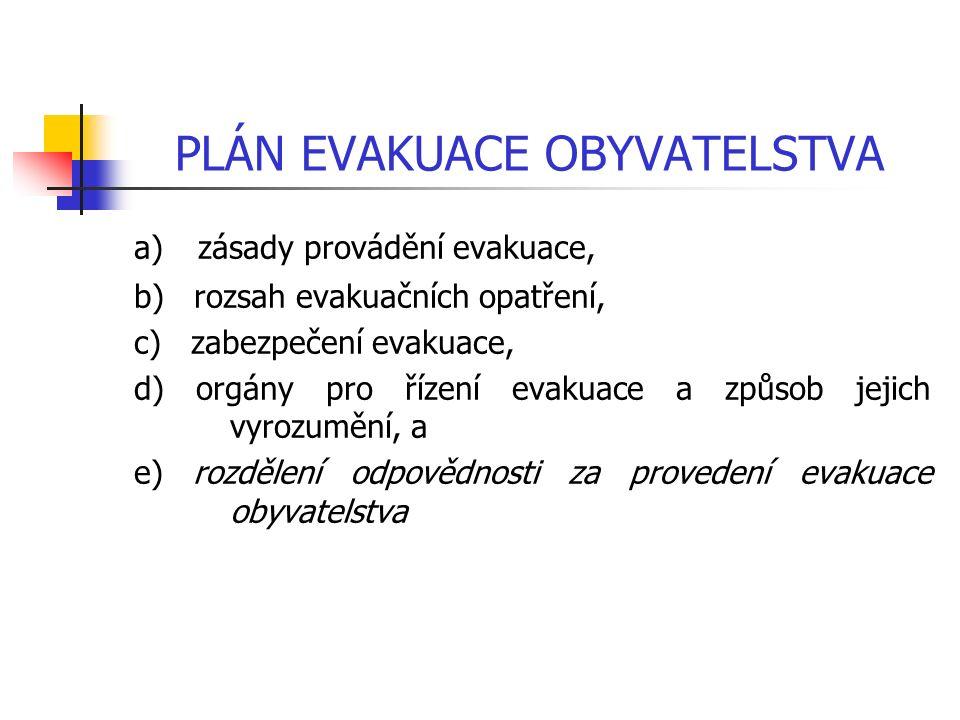 PLÁN EVAKUACE OBYVATELSTVA a) zásady provádění evakuace, b) rozsah evakuačních opatření, c) zabezpečení evakuace, d) orgány pro řízení evakuace a způsob jejich vyrozumění, a e) rozdělení odpovědnosti za provedení evakuace obyvatelstva
