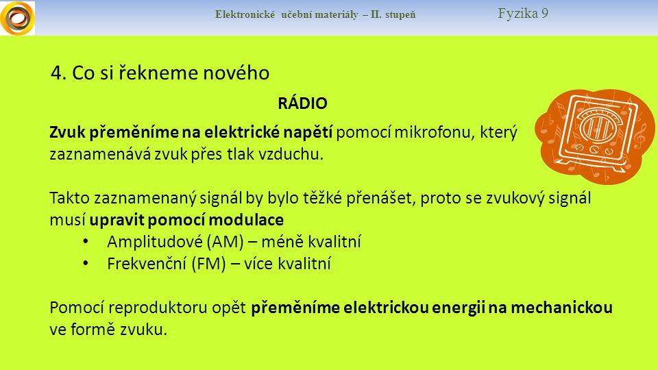 Elektronické učební materiály – II. stupeň Fyzika 9 4. Co si řekneme nového RÁDIO Zvuk přeměníme na elektrické napětí pomocí mikrofonu, který zaznamen