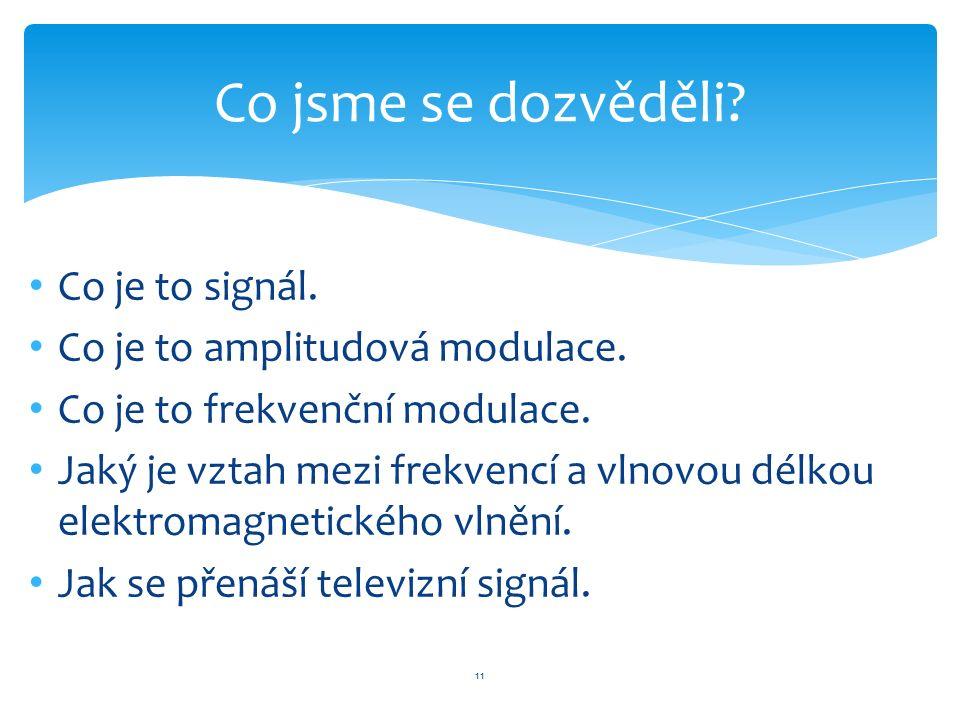 Co je to signál. Co je to amplitudová modulace. Co je to frekvenční modulace.
