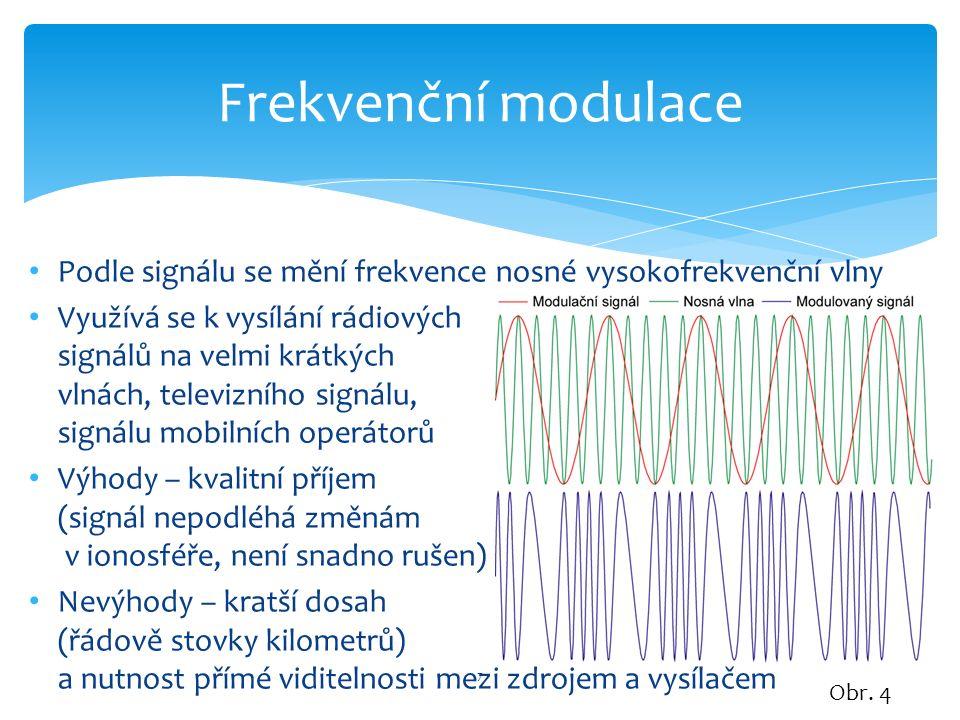 Obr. 4 7 Frekvenční modulace Podle signálu se mění frekvence nosné vysokofrekvenční vlny Využívá se k vysílání rádiových signálů na velmi krátkých vln