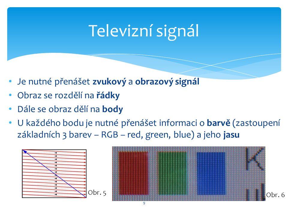 9 Televizní signál Je nutné přenášet zvukový a obrazový signál Obraz se rozdělí na řádky Dále se obraz dělí na body U každého bodu je nutné přenášet informaci o barvě (zastoupení základních 3 barev – RGB – red, green, blue) a jeho jasu Obr.