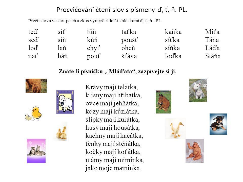 Procvičování čtení slov s písmeny ď, ť, ň.PL.