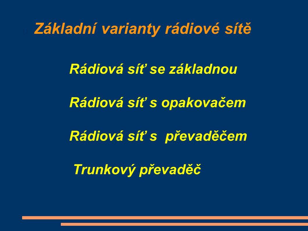 Základní varianty rádiové sítě Rádiová síť se základnou Rádiová síť s opakovačem Rádiová síť s převaděčem Trunkový převaděč