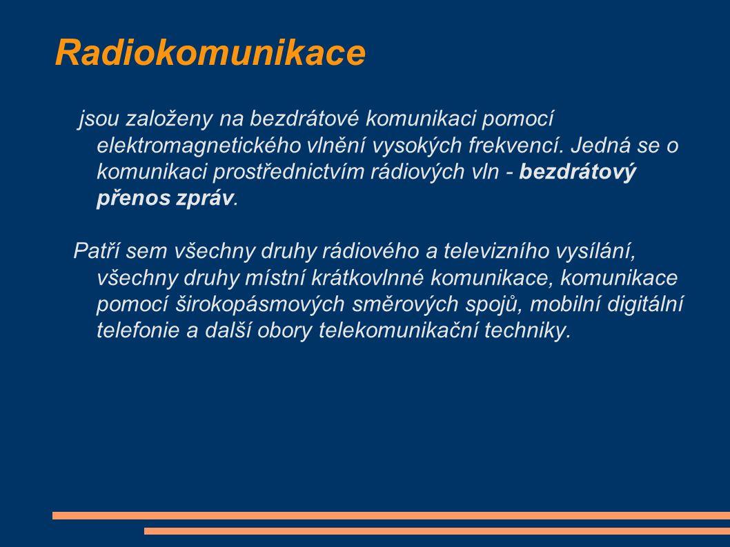 Radiokomunikace jsou založeny na bezdrátové komunikaci pomocí elektromagnetického vlnění vysokých frekvencí.