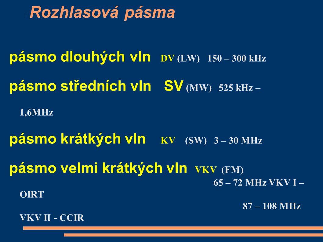 Rozhlasová pásma pásmo dlouhých vln DV (LW) 150 – 300 kHz pásmo středních vln SV (MW) 525 kHz – 1,6MHz pásmo krátkých vln KV (SW) 3 – 30 MHz pásmo velmi krátkých vln VKV (FM) 65 – 72 MHz VKV I – OIRT 87 – 108 MHz VKV II - CCIR