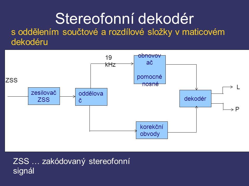 Stereofonní dekodér korekční obvody oddělova č zesilovač ZSS obnovov ač pomocné nosné dekodér 19 kHz L P ZSS ZSS … zakódovaný stereofonní signál s oddělením součtové a rozdílové složky v maticovém dekodéru