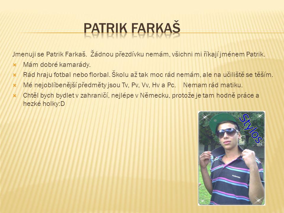 Jmenuji se Patrik Farkaš. Žádnou přezdívku nemám, všichni mi říkají jménem Patrik.  Mám dobré kamarády.  Rád hraju fotbal nebo florbal. Školu až tak