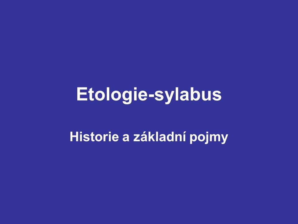 Etologie-sylabus Historie a základní pojmy