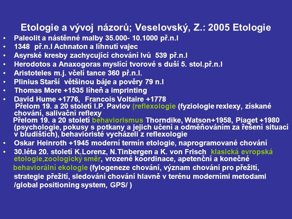 Etologie a vývoj názorů; Veselovský, Z.: 2005 Etologie Paleolit a nástěnné malby 35.000- 10.1000 př.n.l 1348 př.n.l Achnaton a líhnutí vajec Asyrské kresby zachycující chování lvů 539 př.n.l Herodotos a Anaxogoras myslící tvorové s duší 5.