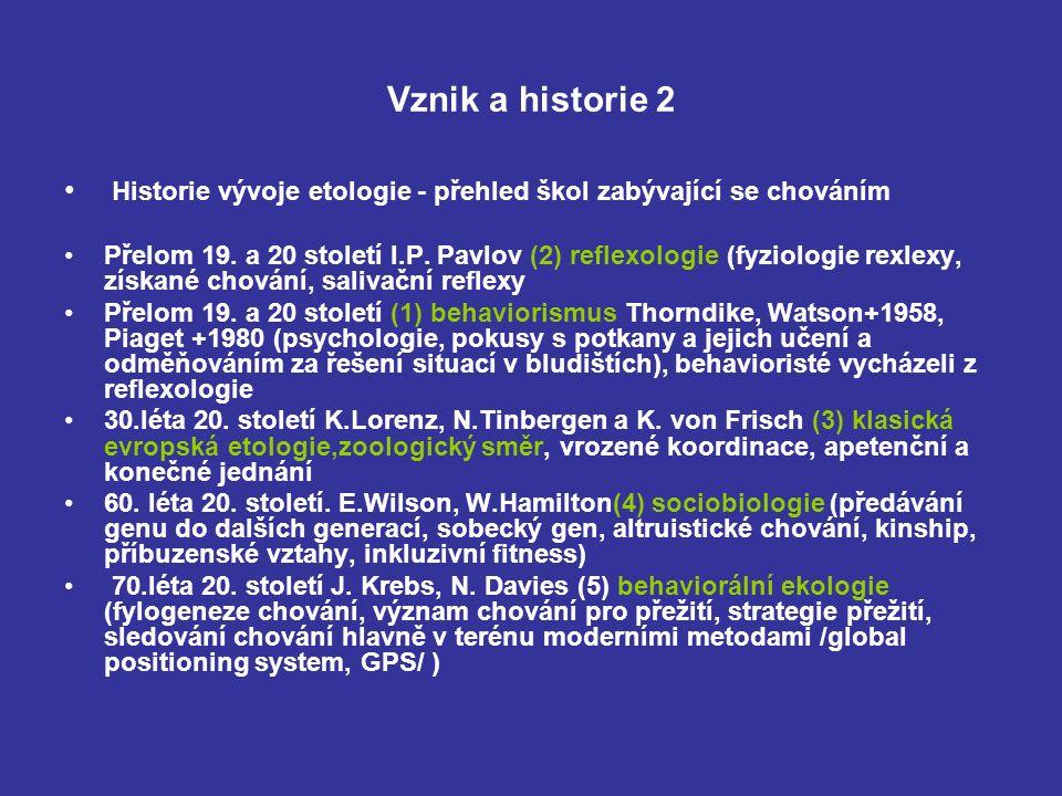 Vznik a historie 2 Historie vývoje etologie - přehled škol zabývající se chováním Přelom 19.