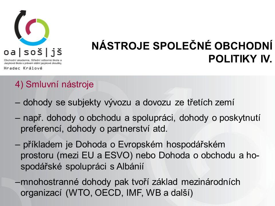 NÁSTROJE SPOLEČNÉ OBCHODNÍ POLITIKY IV.