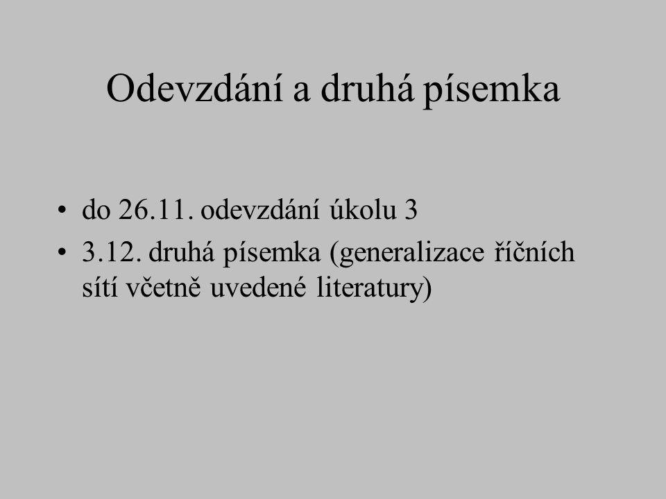 Odevzdání a druhá písemka do 26.11. odevzdání úkolu 3 3.12. druhá písemka (generalizace říčních sítí včetně uvedené literatury)
