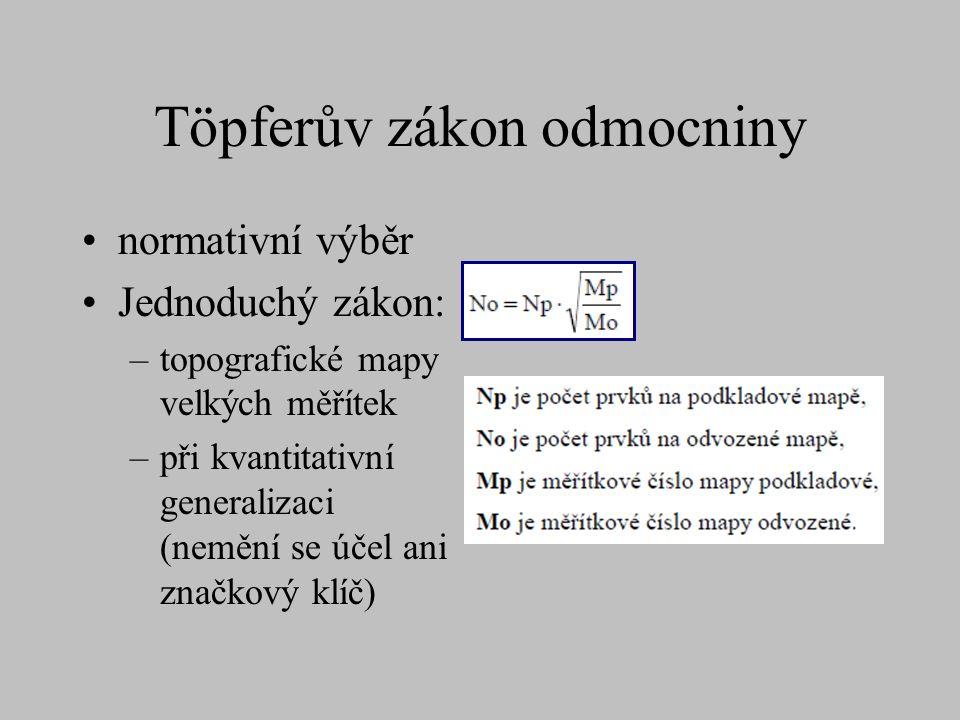 Töpferův zákon odmocniny normativní výběr Jednoduchý zákon: –topografické mapy velkých měřítek –při kvantitativní generalizaci (nemění se účel ani značkový klíč)