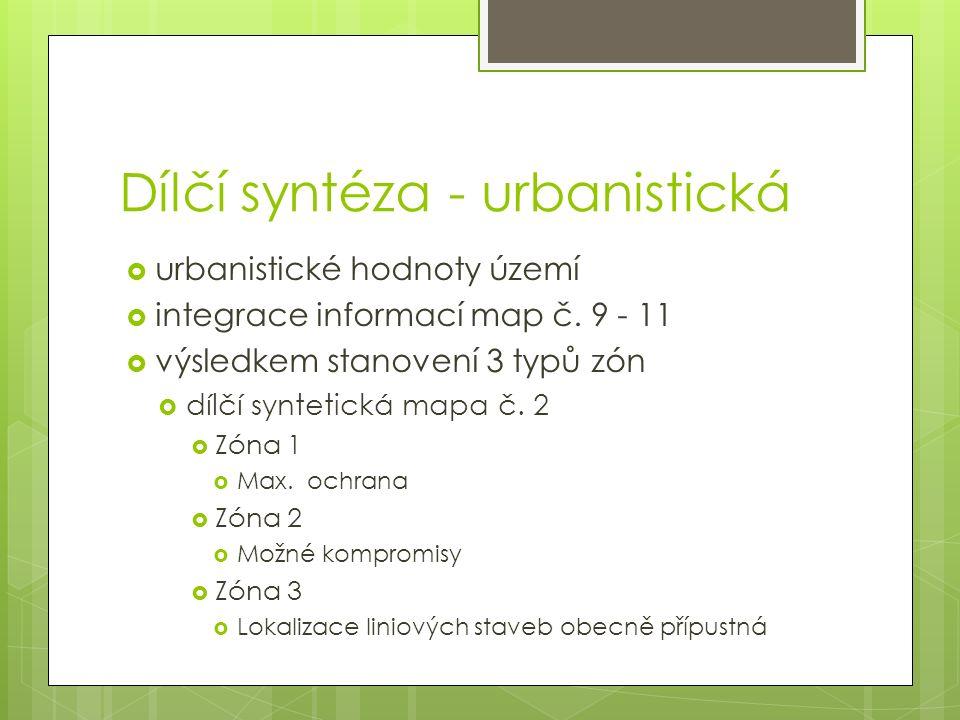 Dílčí syntéza - urbanistická  urbanistické hodnoty území  integrace informací map č.