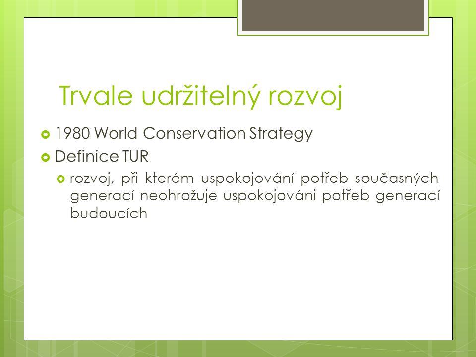 Trvale udržitelný rozvoj  1980 World Conservation Strategy  Definice TUR  rozvoj, při kterém uspokojování potřeb současných generací neohrožuje uspokojováni potřeb generací budoucích