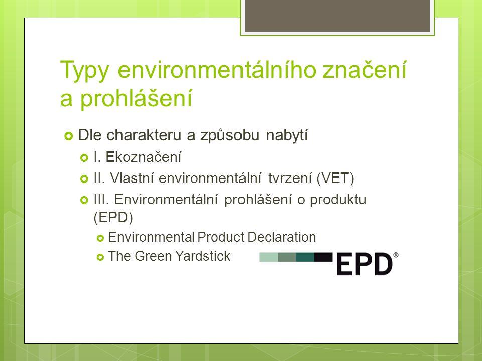 Typy environmentálního značení a prohlášení  Dle charakteru a způsobu nabytí  I.
