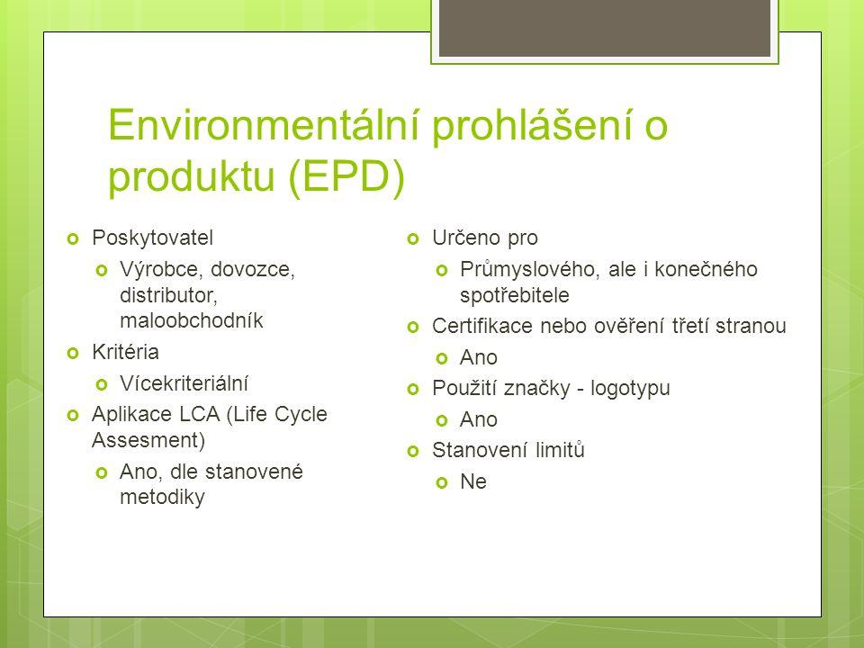 Environmentální prohlášení o produktu (EPD)  Poskytovatel  Výrobce, dovozce, distributor, maloobchodník  Kritéria  Vícekriteriální  Aplikace LCA (Life Cycle Assesment)  Ano, dle stanovené metodiky  Určeno pro  Průmyslového, ale i konečného spotřebitele  Certifikace nebo ověření třetí stranou  Ano  Použití značky - logotypu  Ano  Stanovení limitů  Ne