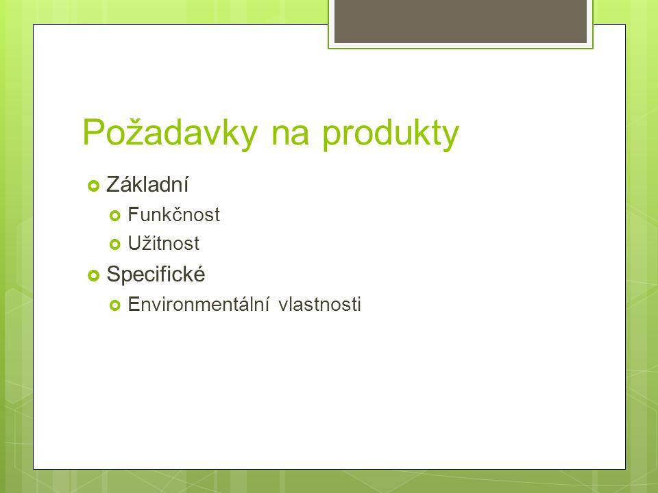 Požadavky na produkty  Základní  Funkčnost  Užitnost  Specifické  Environmentální vlastnosti
