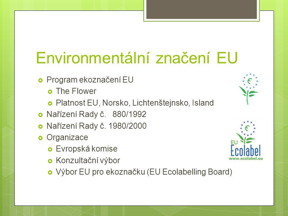 Environmentální značení EU  Program ekoznačení EU  The Flower  Platnost EU, Norsko, Lichtenštejnsko, Island  Nařízení Rady č.