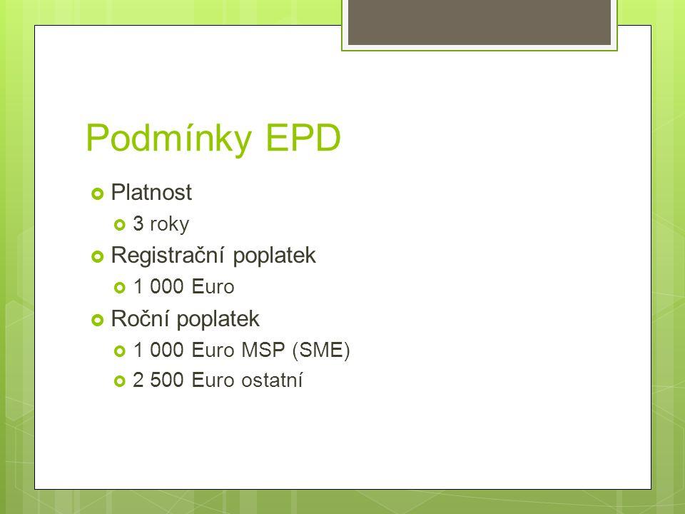 Podmínky EPD  Platnost  3 roky  Registrační poplatek  1 000 Euro  Roční poplatek  1 000 Euro MSP (SME)  2 500 Euro ostatní
