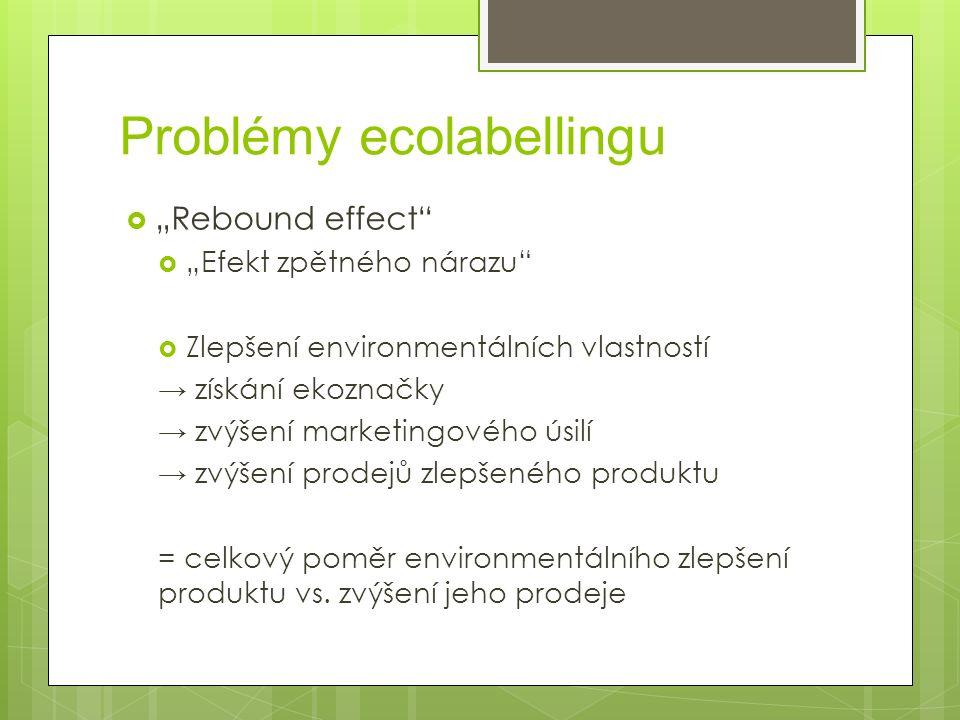 """Problémy ecolabellingu  """"Rebound effect  """"Efekt zpětného nárazu  Zlepšení environmentálních vlastností → získání ekoznačky → zvýšení marketingového úsilí → zvýšení prodejů zlepšeného produktu = celkový poměr environmentálního zlepšení produktu vs."""
