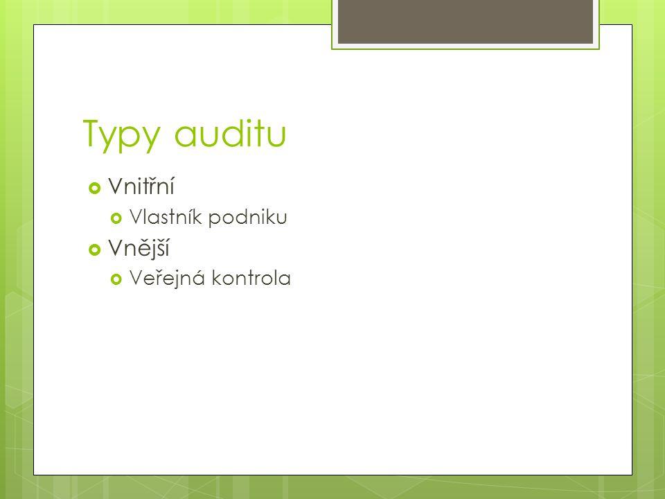 Typy auditu  Vnitřní  Vlastník podniku  Vnější  Veřejná kontrola