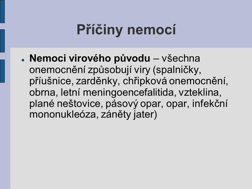 Příčiny nemocí Nemoci virového původu – všechna onemocnění způsobují viry (spalničky, příušnice, zarděnky, chřipková onemocnění, obrna, letní meningoencefalitida, vzteklina, plané neštovice, pásový opar, opar, infekční mononukleóza, záněty jater)