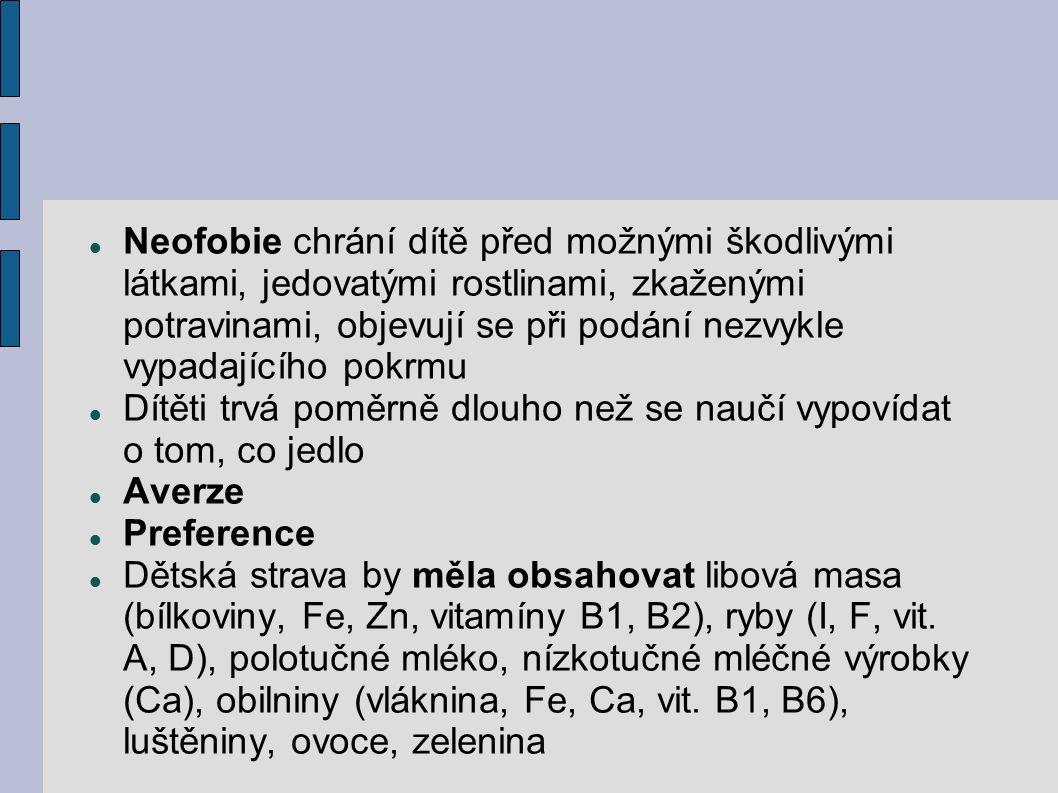 Neofobie chrání dítě před možnými škodlivými látkami, jedovatými rostlinami, zkaženými potravinami, objevují se při podání nezvykle vypadajícího pokrmu Dítěti trvá poměrně dlouho než se naučí vypovídat o tom, co jedlo Averze Preference Dětská strava by měla obsahovat libová masa (bílkoviny, Fe, Zn, vitamíny B1, B2), ryby (I, F, vit.