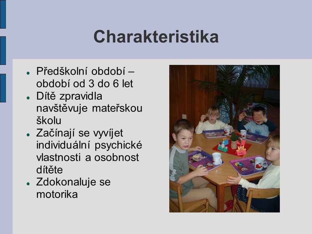 Charakteristika Předškolní období – období od 3 do 6 let Dítě zpravidla navštěvuje mateřskou školu Začínají se vyvíjet individuální psychické vlastnosti a osobnost dítěte Zdokonaluje se motorika