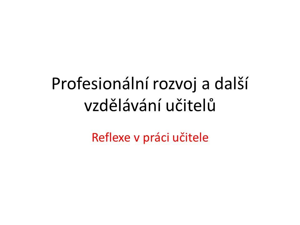 Profesionální rozvoj a další vzdělávání učitelů Reflexe v práci učitele