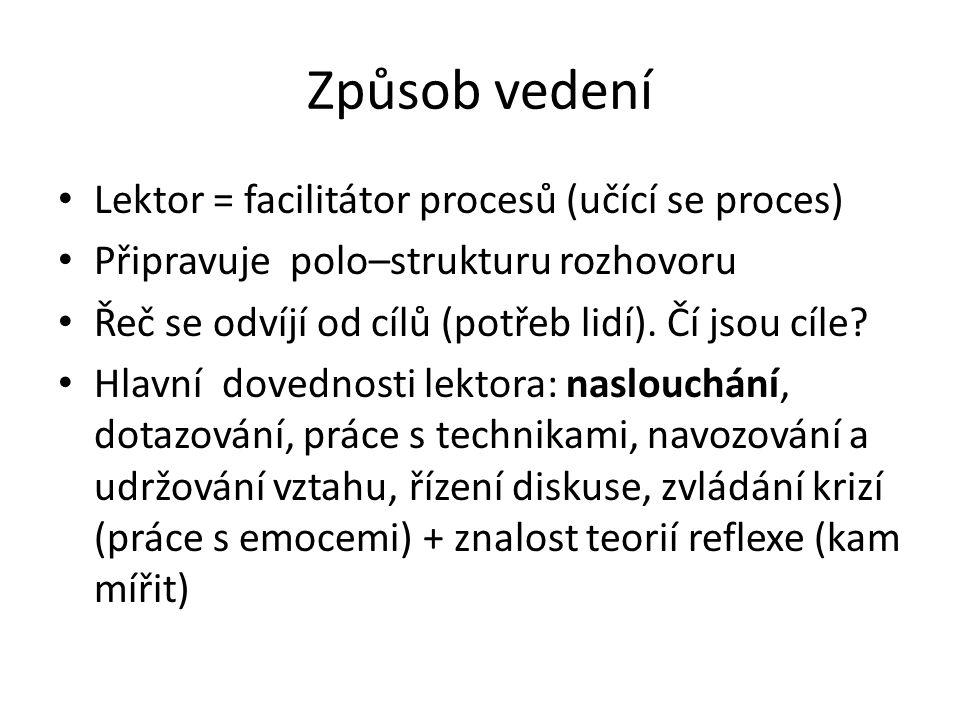 Způsob vedení Lektor = facilitátor procesů (učící se proces) Připravuje polo–strukturu rozhovoru Řeč se odvíjí od cílů (potřeb lidí).